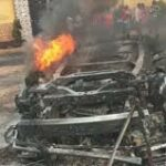 Just in: Passengers burnt beyond recognition as commercial bus catches fire in Onitsha