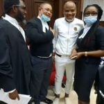 Photos: Nnamdi Kanu appearing today at Federal High Court.